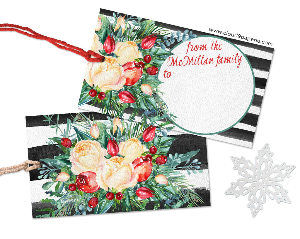 Striped Floral Bouquet Calligraphy Personalized Christmas Gift Tags - Set of 25