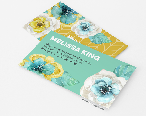 Mint & Gold Watercolor Floral Business Card or Calling Card
