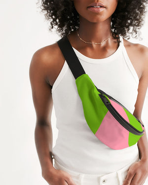 Pink and Green Sling Bag