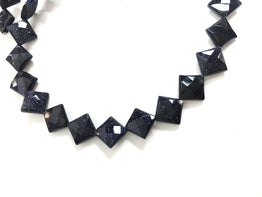 A&SB Stone - Blue Goldstone Faceted Diamond Drill Squares - 10mm x 10mm -  16 inch Strand