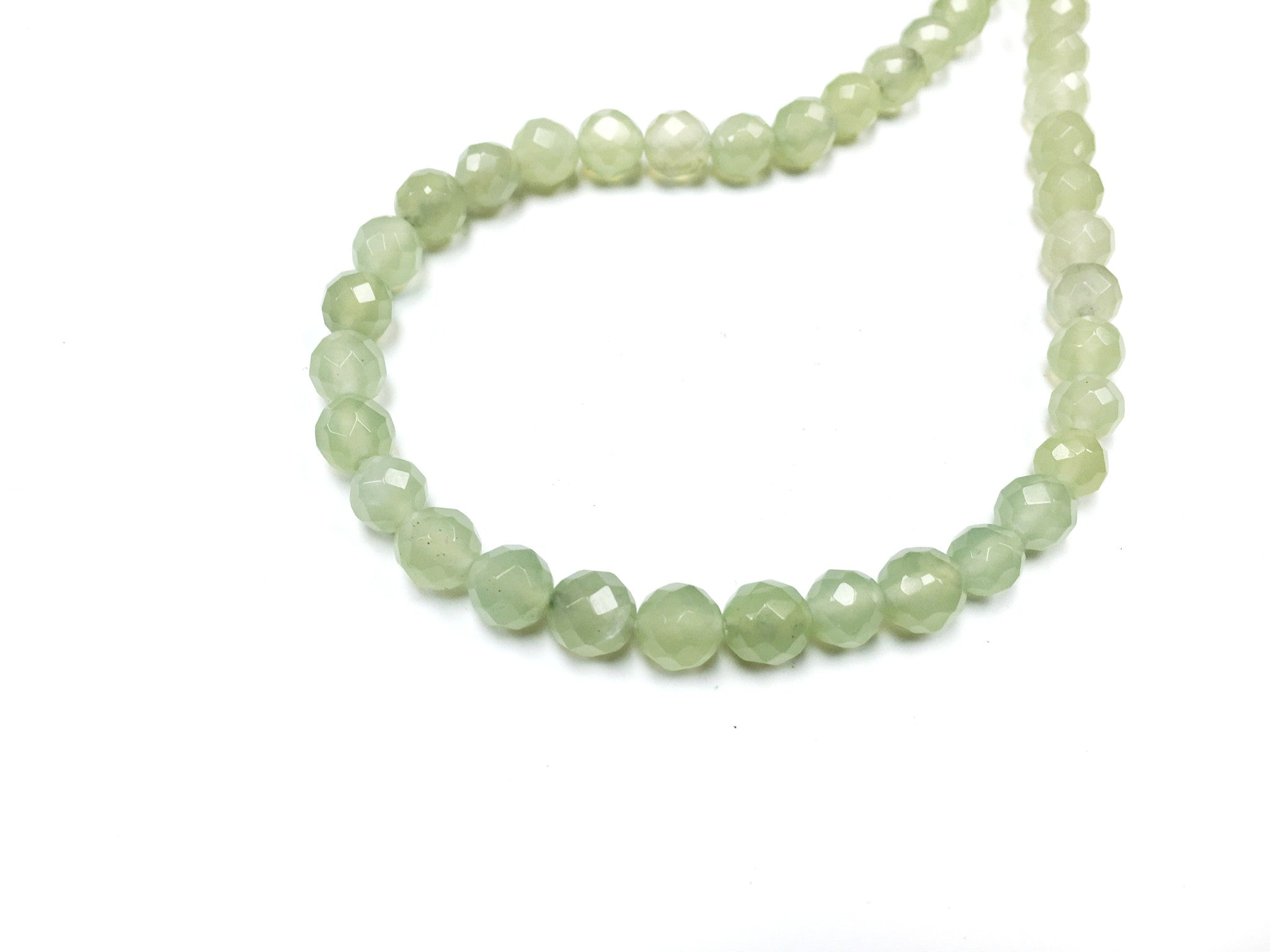 A&SB Stone - Round Stone - Faceted Natural Jade - 8mm 49 pcs