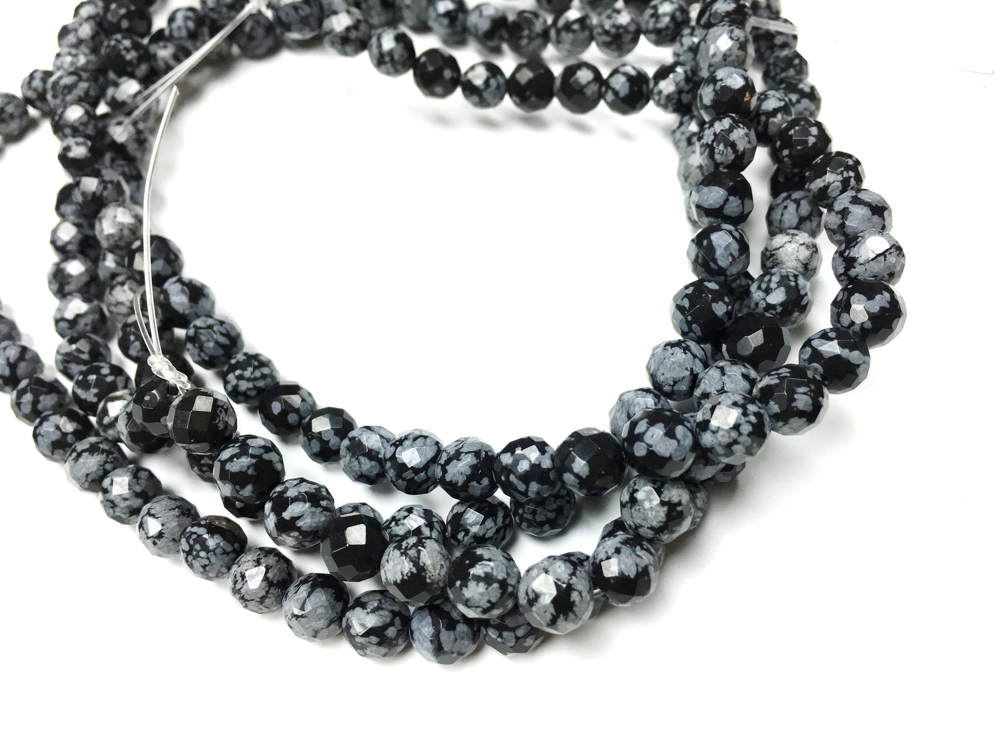 A&SB Stone - Round Stone - Faceted Snowflake Obsidian - 8mm 49 pcs