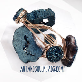 A&SB Stones CD03 - Titanium Druzy Agate - Bright Blue Round 20mm