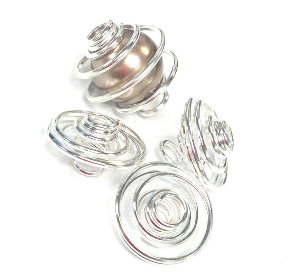 Spiral Bead Cage: Large 12mm (4 Pc)