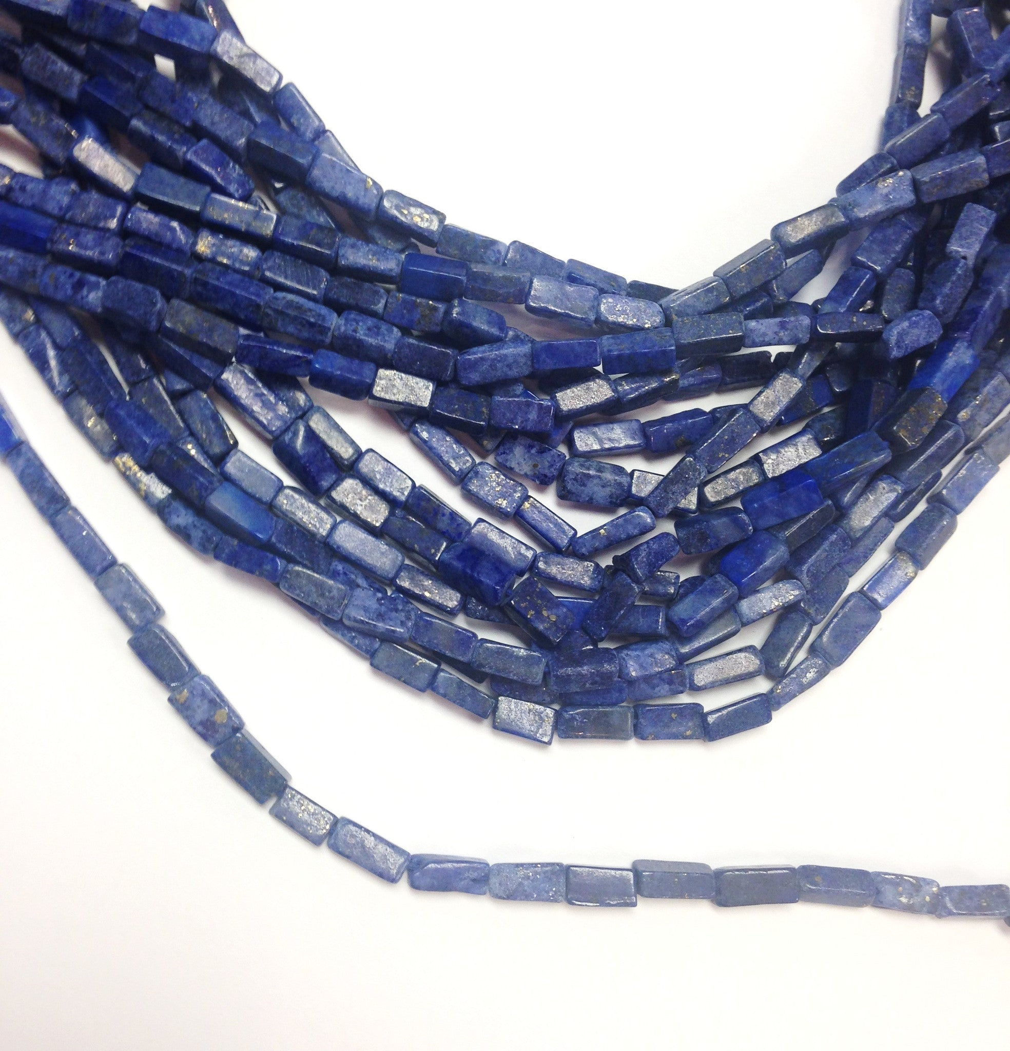 A&SB Stones - Lapis- Bugle Long Shapes - 10x4 (15.5 Inch Strand)