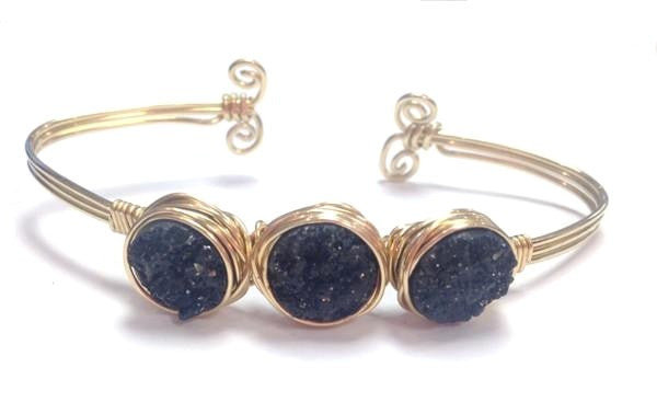 Handmade Bracelet: Three Druzy Bangle- Gold