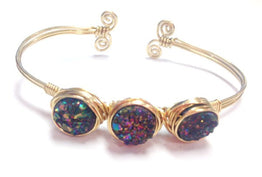 DIY Kit - From the Blog - Bracelet: Three Druzy Bangle- Gold