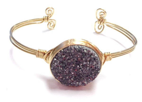 Handmade Bracelet: Center Druzy Bangle- Gold