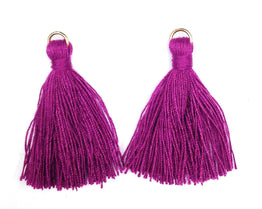 Findings: Hand Crafted Thread Tassel - Amethyst (2pcs)