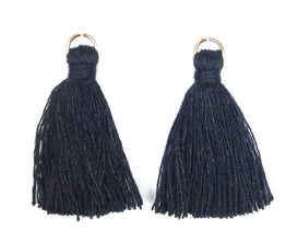 Findings: Hand Crafted Thread Tassel - Black (2pcs)
