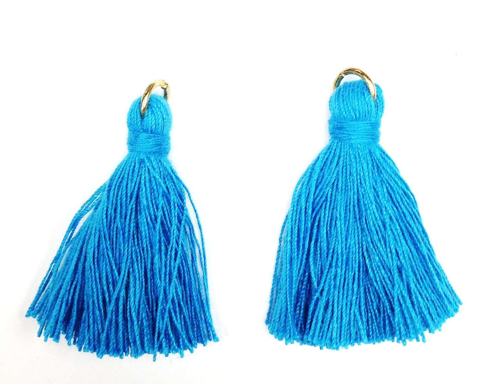 Findings: Hand Crafted Thread Tassel - Turquoise (2pcs)
