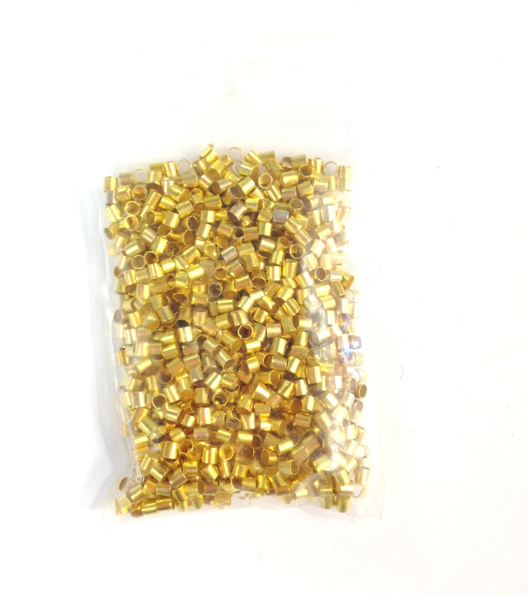 Findings: A&SB Flea - Gold Color /Brass - 2x2mm Crimp Tubes- 3oz
