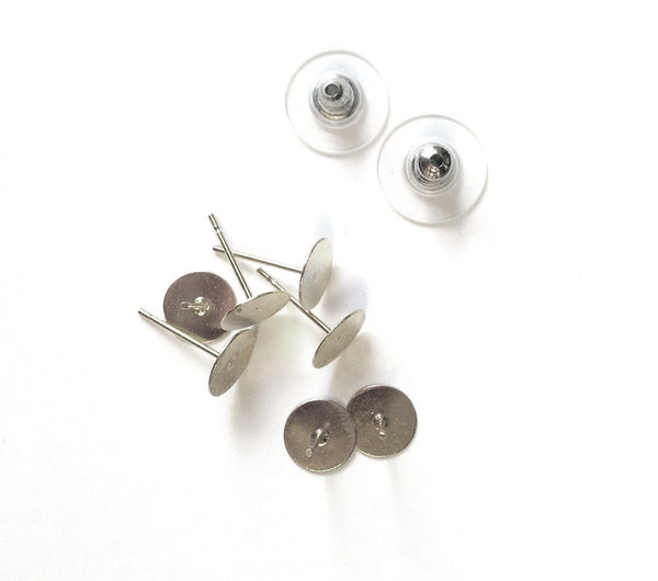 E - Earring Post Blanks 8mm Pkg of 4 Paris