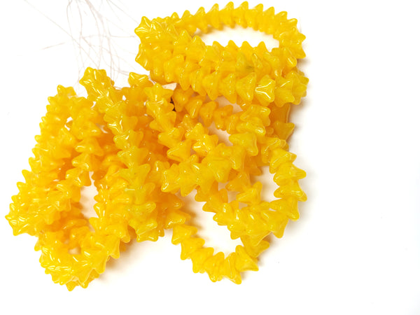 Glass - Czech Pressed- Bell Flower Beads - Bright Yellow - 8x13mm (25 pcs)