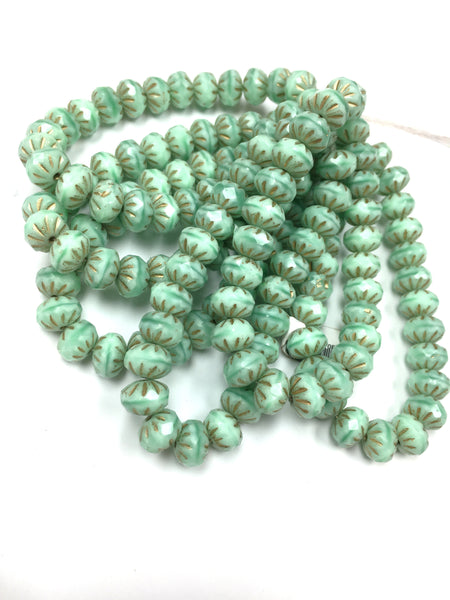Glass - Czech Pressed- Cullers Roundells - Mint Green w/ Brown Detail - 9x6mm (25 pcs)