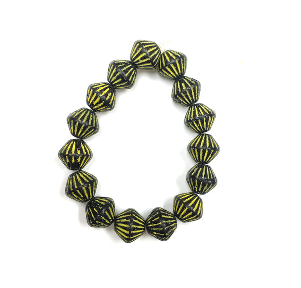 Glass - Czech Pressed- Bicone Beads -Yellow Detail-11x10mm