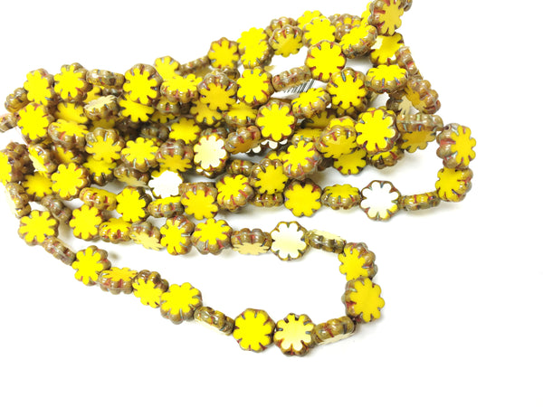 Glass - Czech Pressed- Cactus Flowers - Yellow w/ Brown Detail - 9mm (25 pcs)