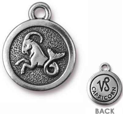 Findings Charm - Tierra Cast Zodiac Sign Capricorn Symbol - 19x15.25mm, 1 Piece