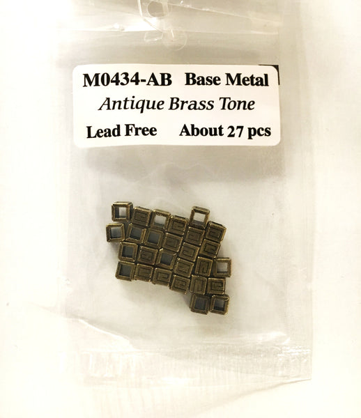Base Metal Beads- Cube with Design - 4mm - Antiqued Bass- 27pcs