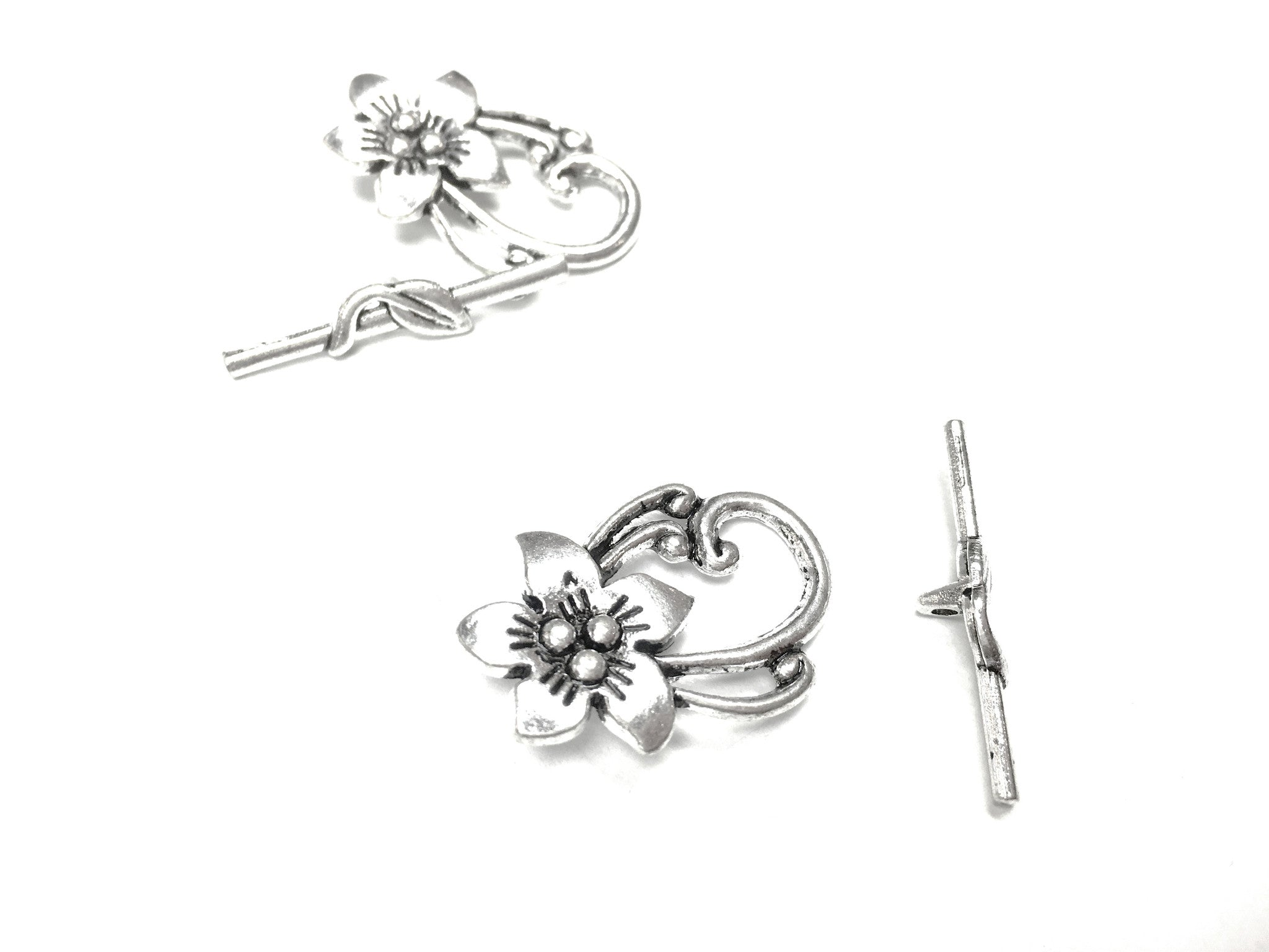 Toggle Clasp - Antique Silver - Flower Detail - 30X20MM- Pkg of 2 Sets