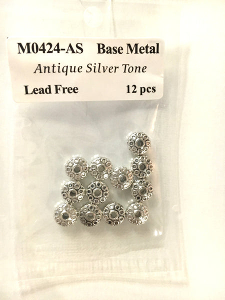 Base Metal Beads- Flat Decorative Disk - 9mm - Silver Plate - 12pcs