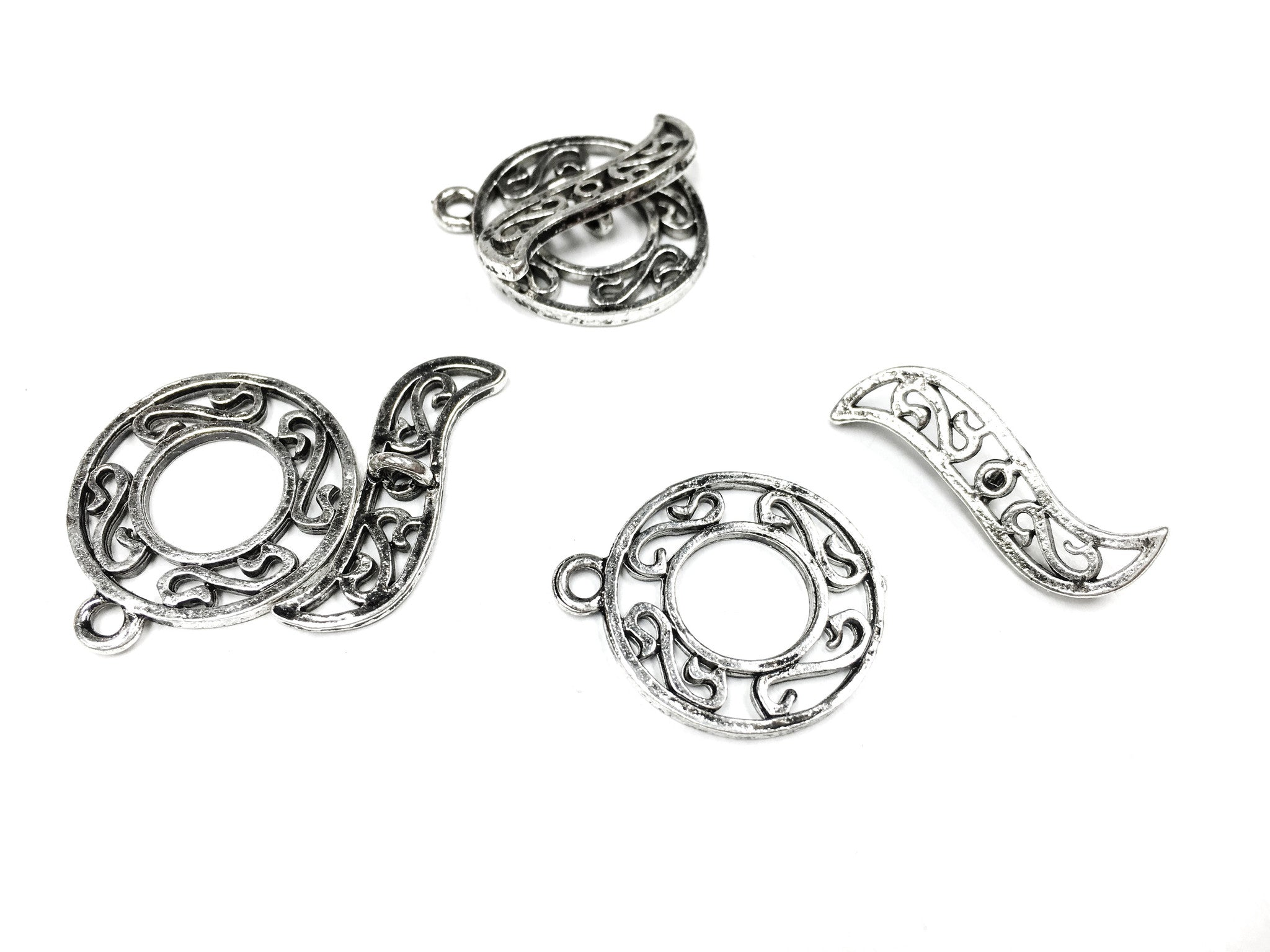 Toggle Clasp - Antique Silver - Open Swirl Detail - 27X23MM- Pkg of 3 Sets