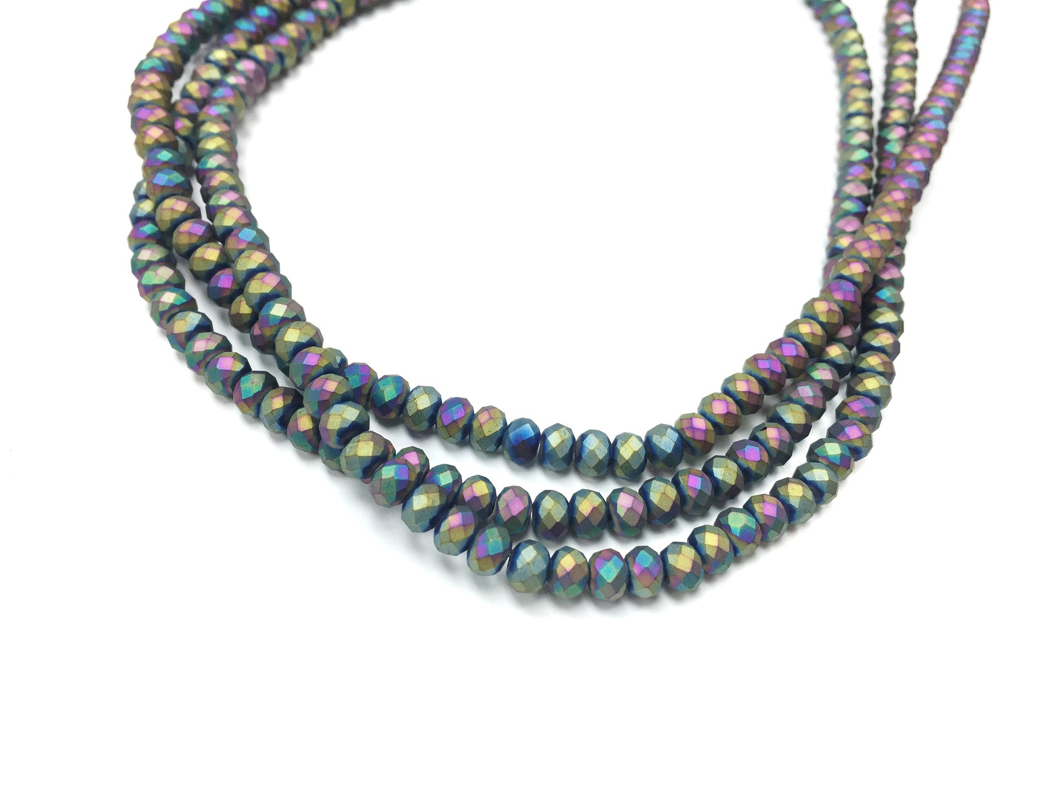 A&SB Crystal Rondells - 4x6mm Matte Rainbow Faceted Rondelle Beads - 16 inch st
