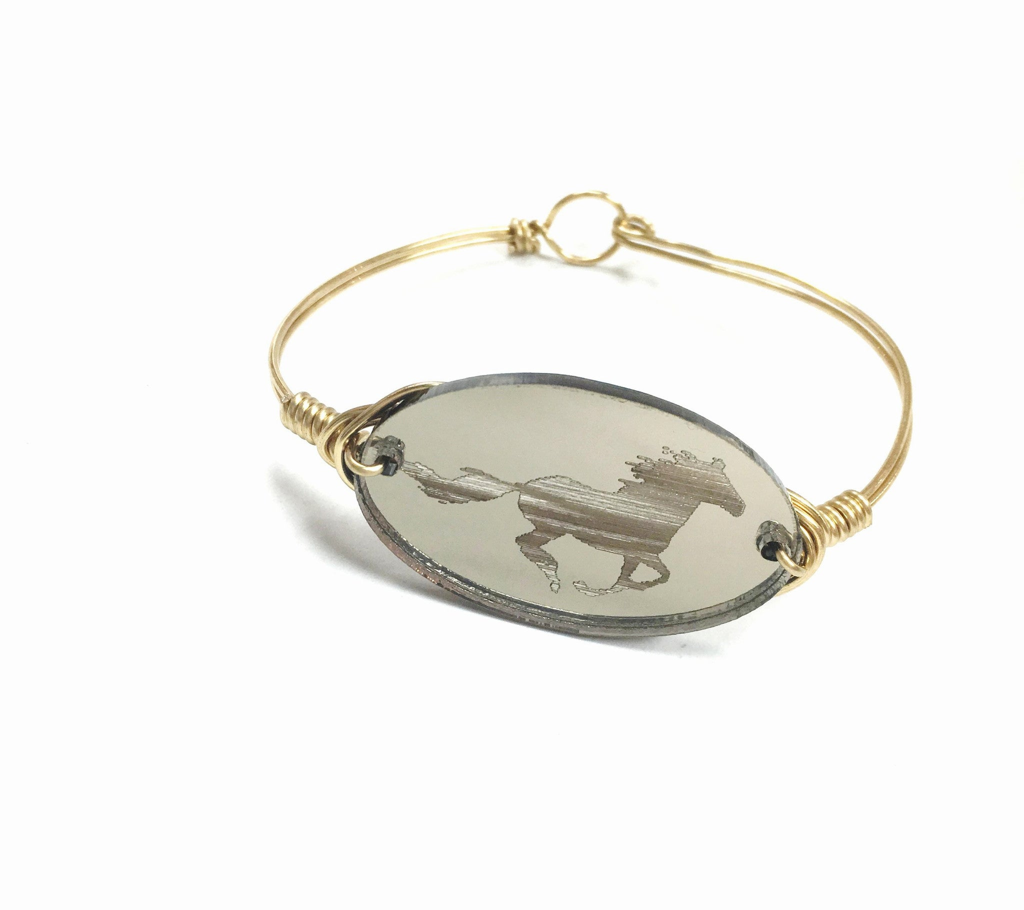 Etched Horse Acrylic Coin Wire Bangle Bracelet