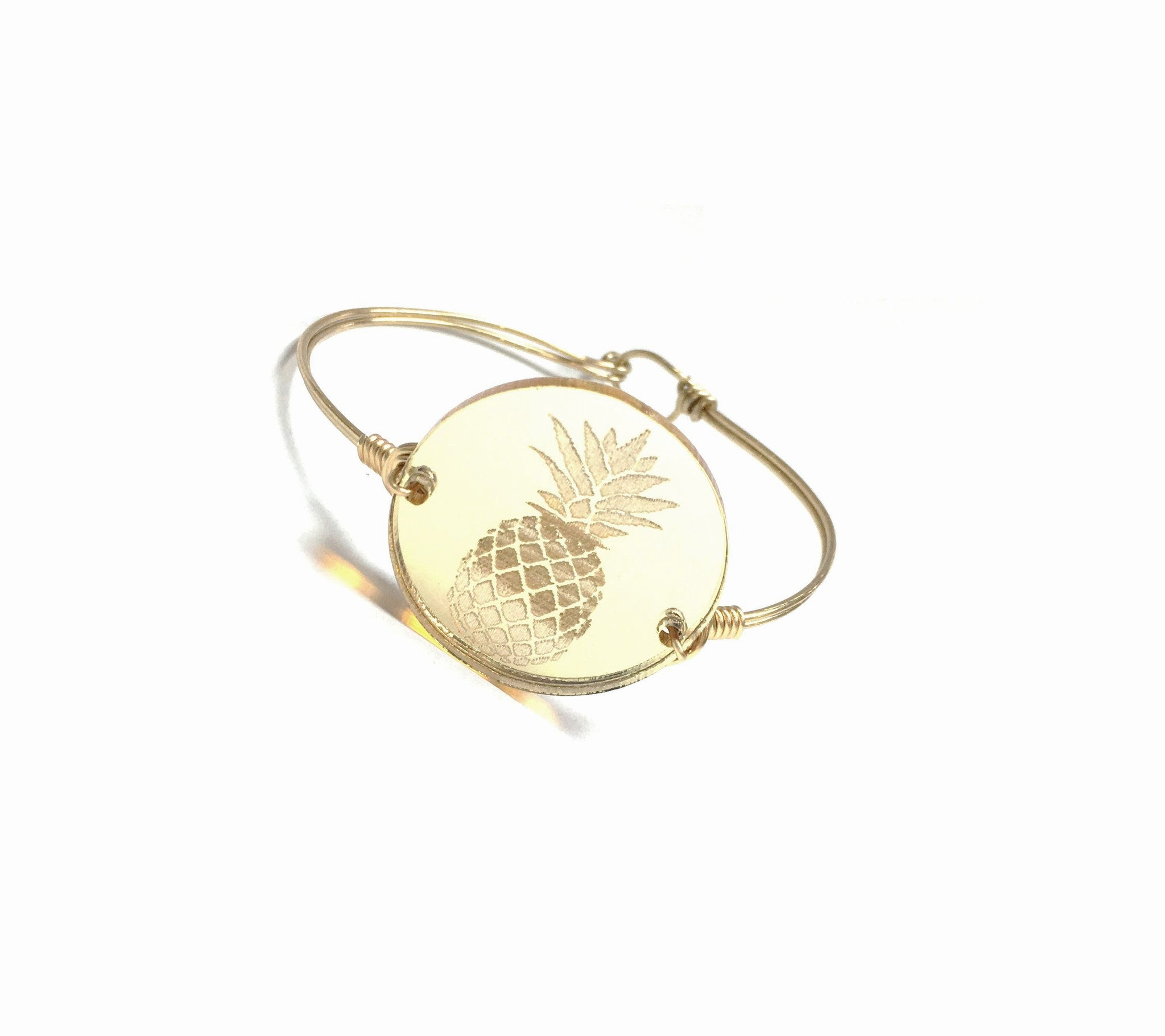 DIY Jewelry Kit - From The Blog - Etched Pineapple Acrylic Coin Wire Bangle Bracelet