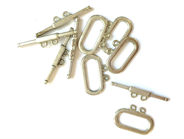 A&SB Flea - Rectangle Toggles - Two Strand -Silver Color -  Set of 5