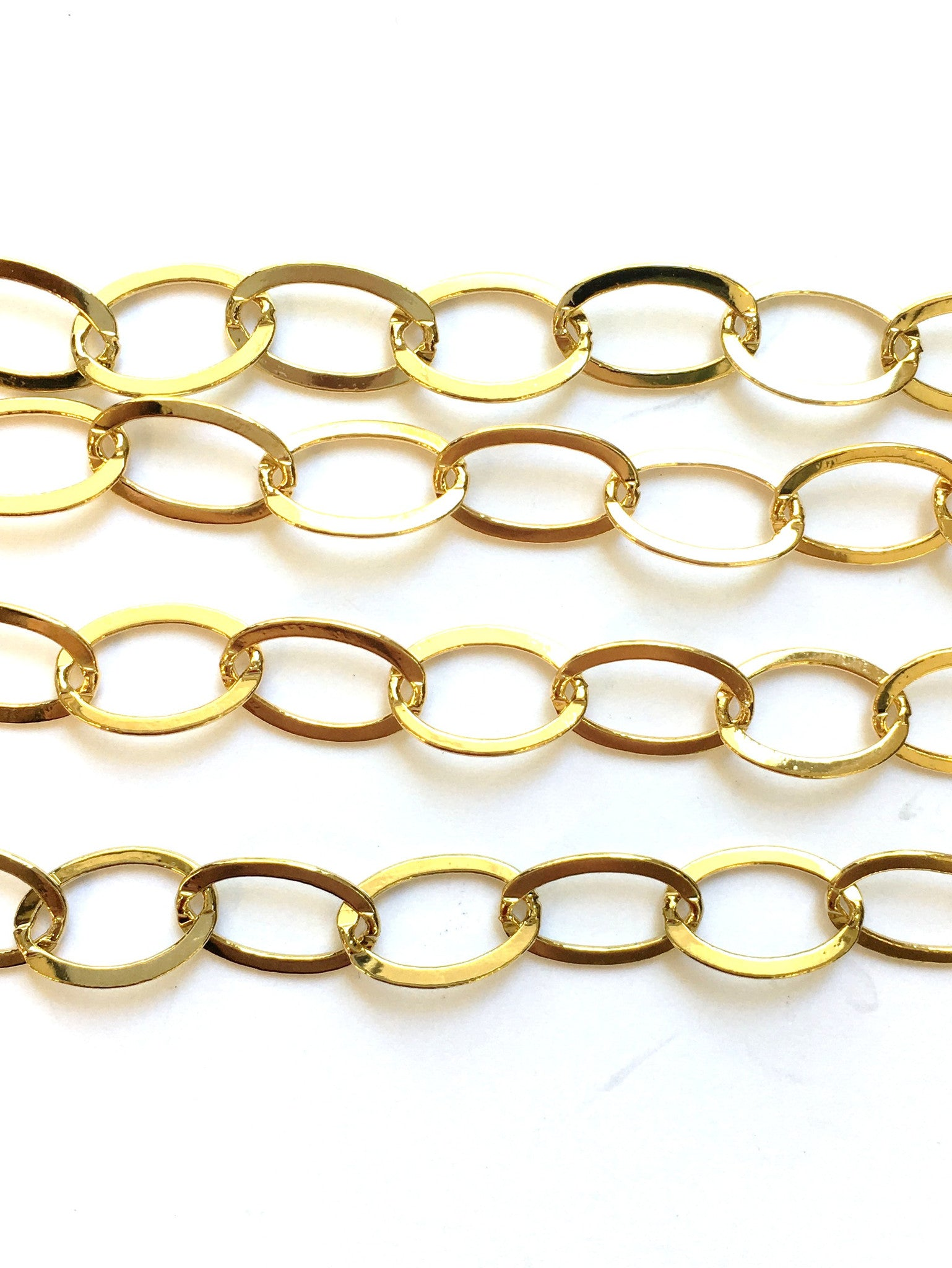 Findings Chain - 16 K Gold Plate - Flash Flat Oval Link - 8.5x13mm (1 Ft)
