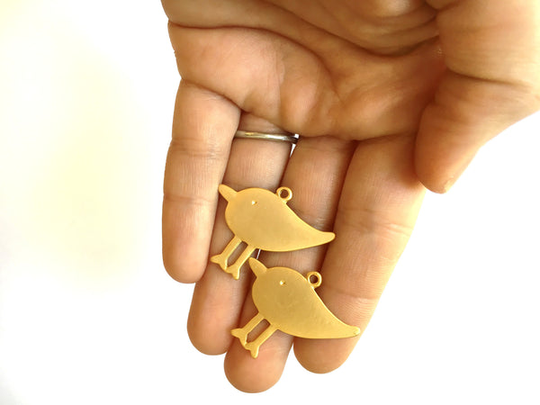 E - Findings Charm - 16 K Gold Matte - Sandpiper Bird Component - 32x24mm (1 Pair)