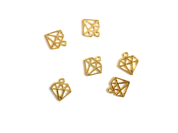 E - Findings Charm - 16 K Gold - Tiny Diamond Component - 9x10mm (1 Pair)