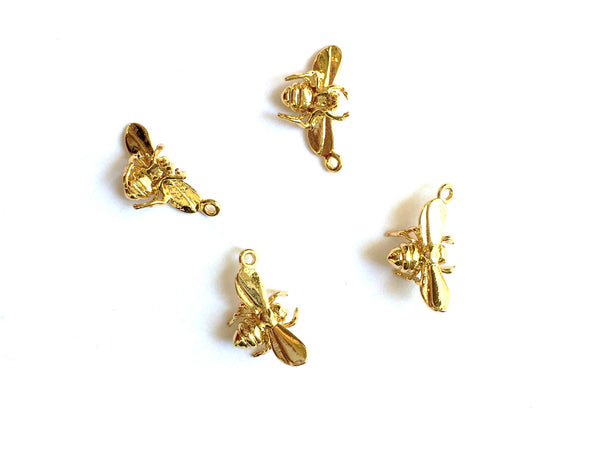 E - Findings Charm - 16 K Gold Plated -Bumble Bee Component - 16x11mm (1 Pair)
