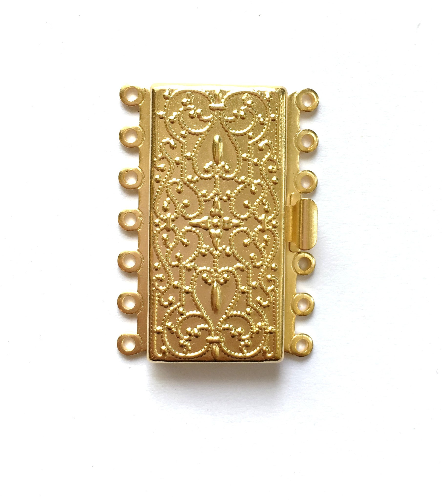 Findings - Gold - 7 Strand Clasp - Rectangle Print Design - 36 x 26 mm (1 Set)