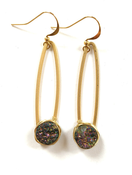 Handmade Earrings: Druzy Chain Dangles - 16 K Matte Gold