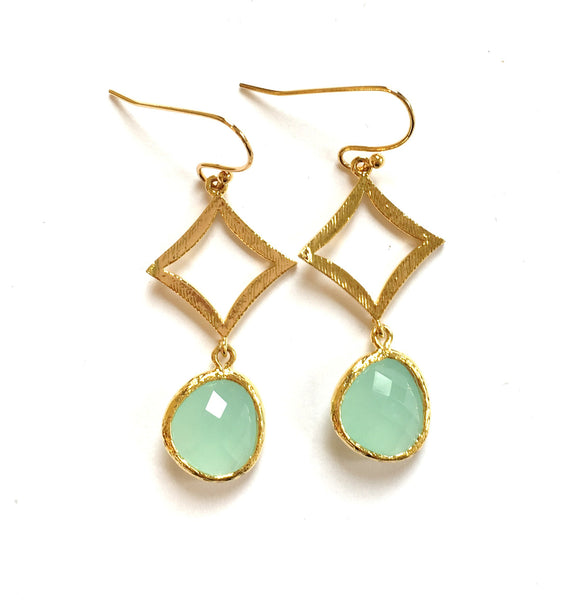 Handmade Earrings: Mint Bezel Diamond Dangles