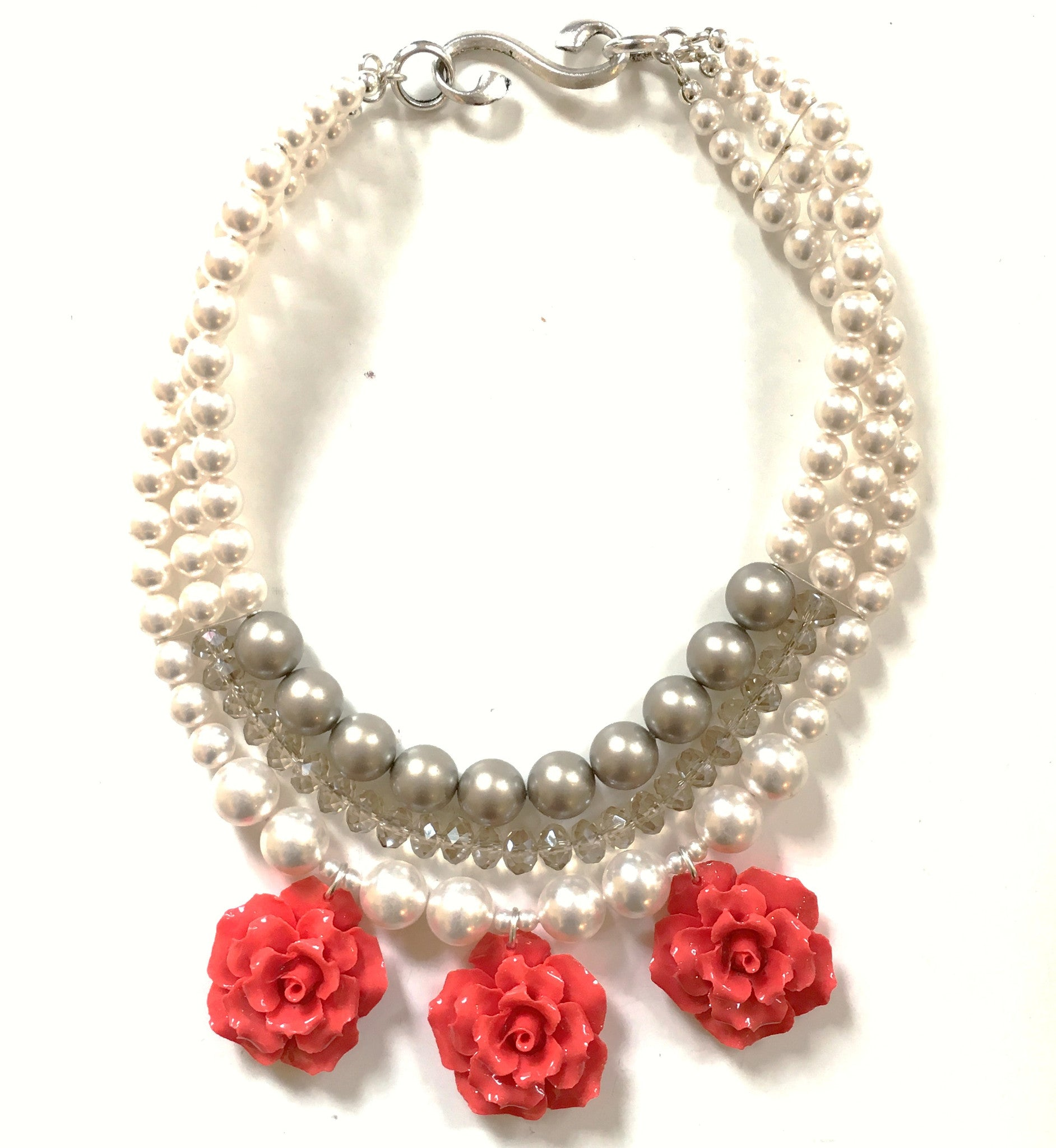 Handmade Necklace - Run for the Roses Featuring Swarovski Pearls