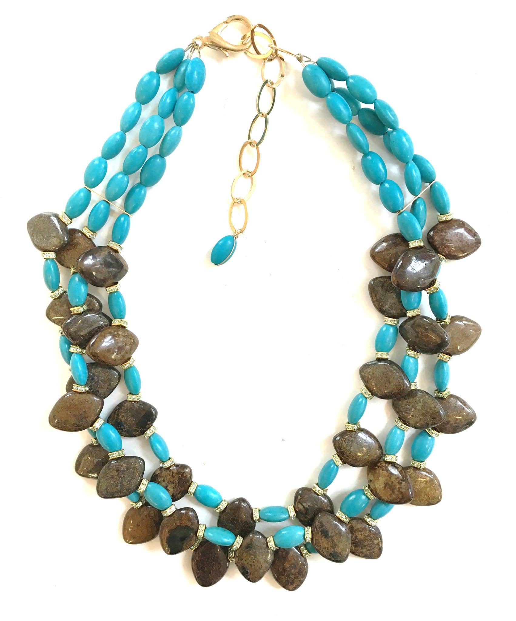 Handmade Necklace - Turquoise and Bronzite Mulit Strand Necklace