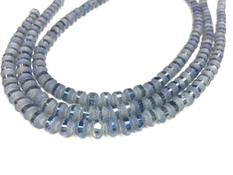 A&SB Crystal Orbits - 7x9mm Medium Waterfall Matte Striped Rondelle Beads - 16 inch strand