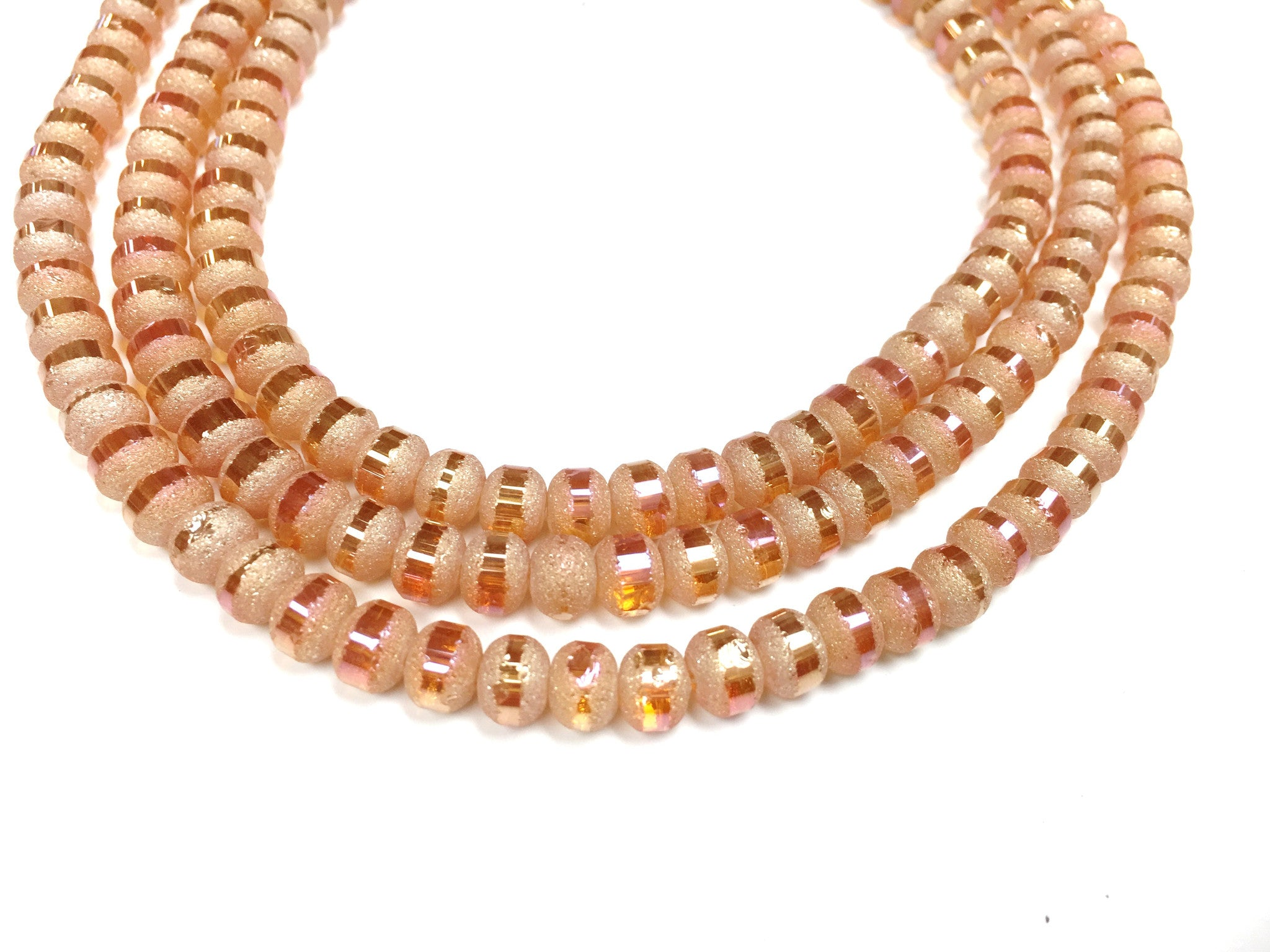 A&SB Crystal Orbits - 7x9mm Silk Med Amber Matte Striped Rondelle Beads - 16 inch strand