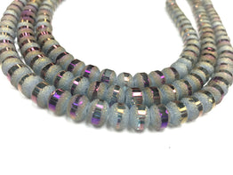 A&SB Crystal Orbits - 7x9mm Stormy Blue Matte Striped Rondelle Beads - 16 inch strand