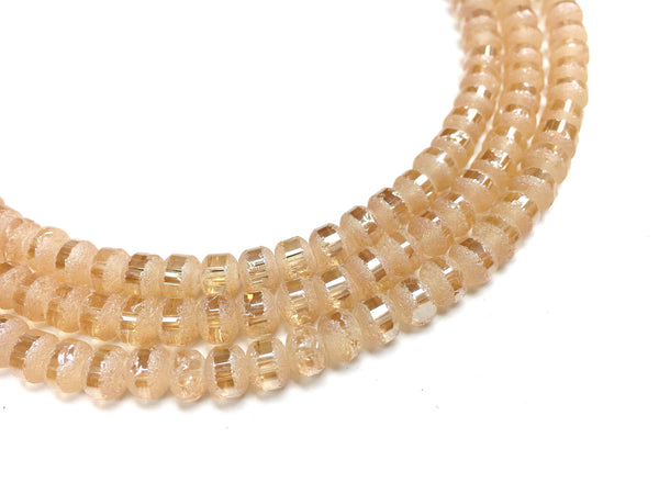 A&SB Crystal Orbits - 5x7mm Silk Amber Matte Striped Rondelle Beads - 16 inch strand