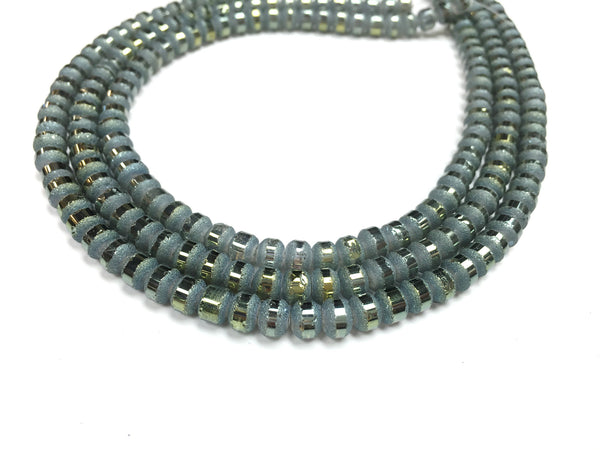 A&SB Crystal Orbits - 5x7mm Blue Frost Matte Striped Rondelle Beads - 16 inch strand