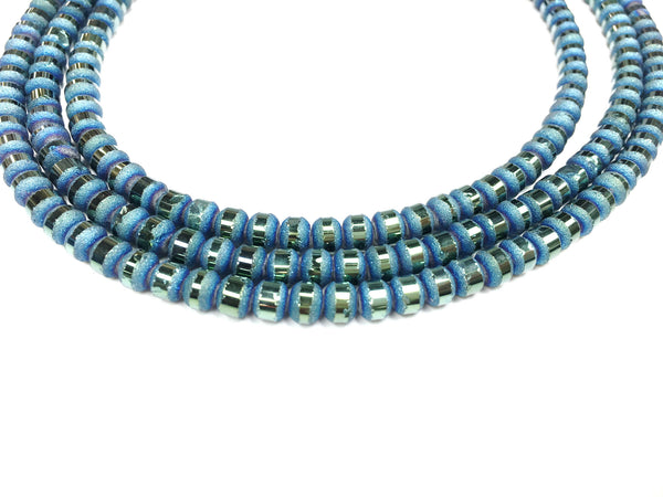 A&SB Crystal Orbits - 5x7mm Teal Matte Striped Rondelle Beads - 16 inch strand