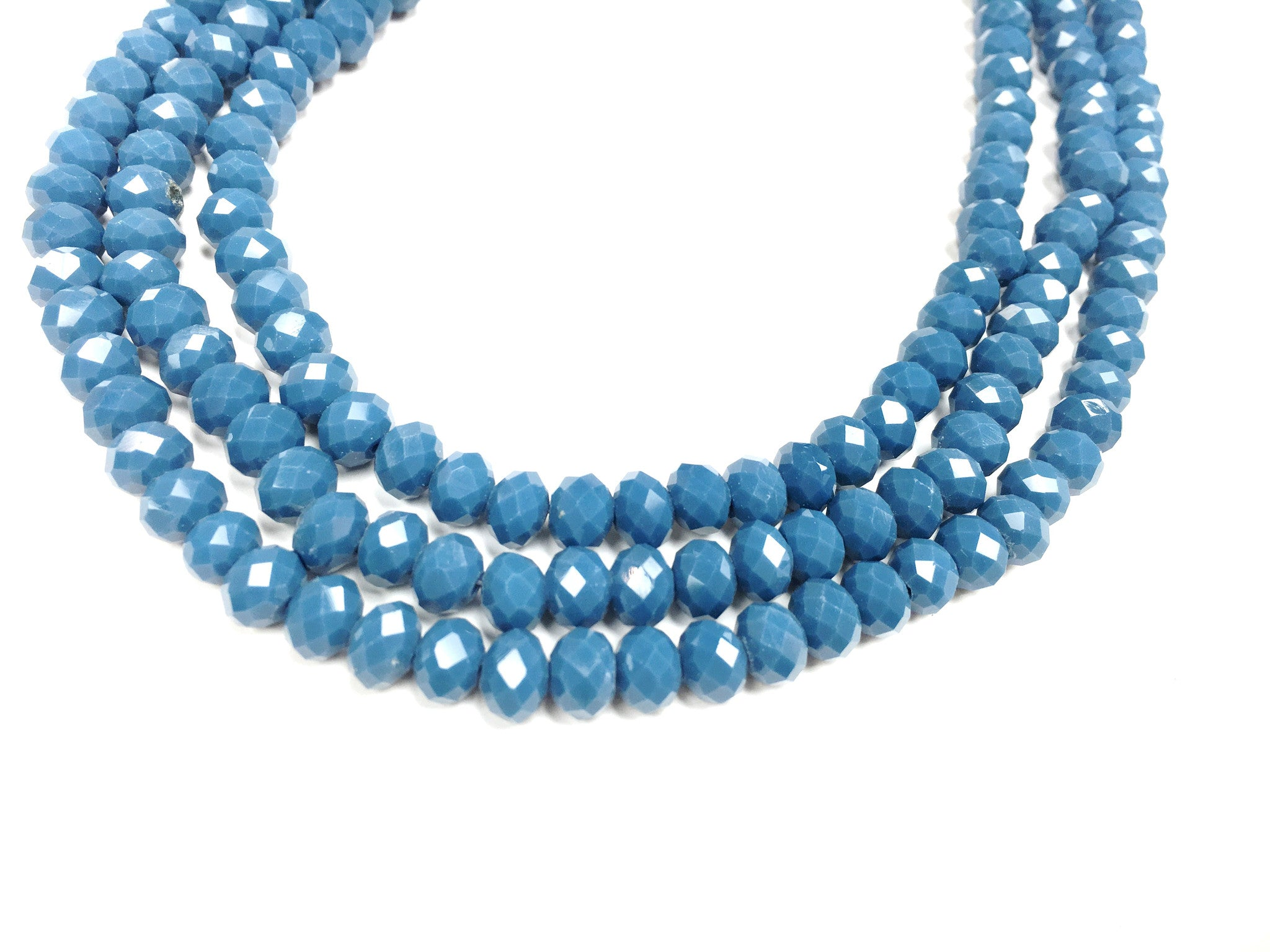 A&SB Crystal Rondells - 6x8mm Opaque Lake Blue Faceted Rondelle Beads - 16 inch strand