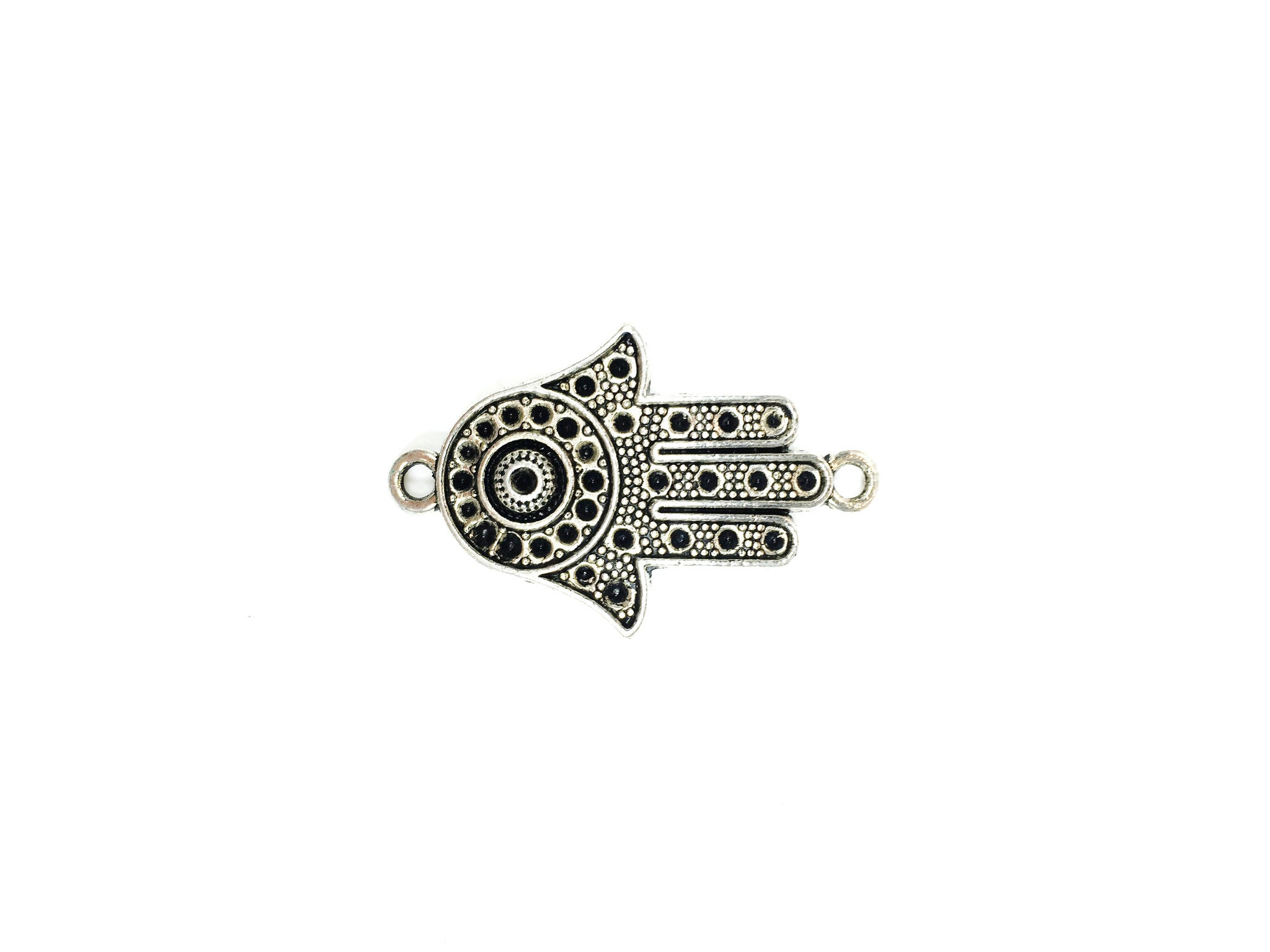 Silver Pewter 22x36mm Hamsa Hand Curved Link - 1 per bag