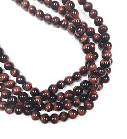 A&SB Stones - Red Tigers Eye Smooth Round Stone 8mm (15.5'/st)