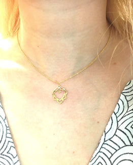 Handmade Necklace - Lotus Charm - Delicate Chain