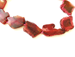 A&SB Stones - Agate- Pinkish Red - Odd Flat Shapes-30x25